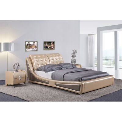 Container Direct Olivia Collection Contemporary Faux Leather Upholstered  Platform Bed With Tufted Headboard, Pearl Gold/Gray, Eastern King