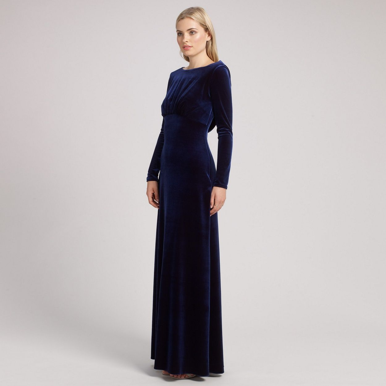 Ariella london navy rafaella long sleeve velvet dress at debenhams