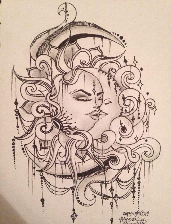 Fozia Iqbal . Foundation Art and Design Blackburn College ...  |Sun And Moon Design Drawing