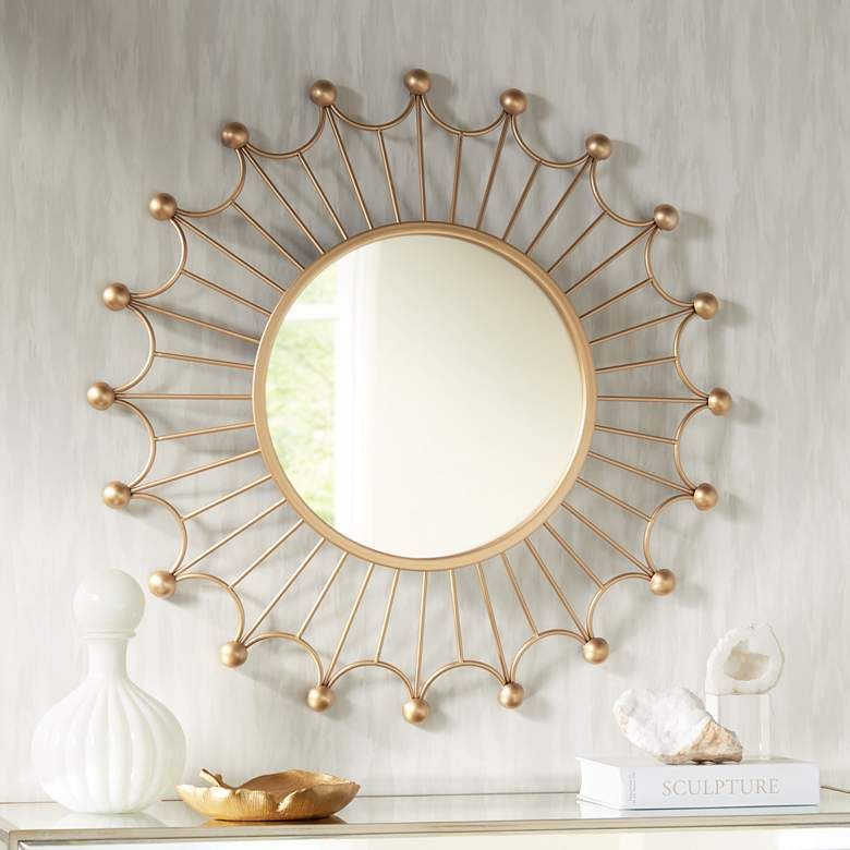 Weiss Gold 35 1 2 Round Sunburst Wall Mirror 16p92 Lamps Plus Gold Sunburst Mirror Sunburst Mirror Wall Mirror Design Wall