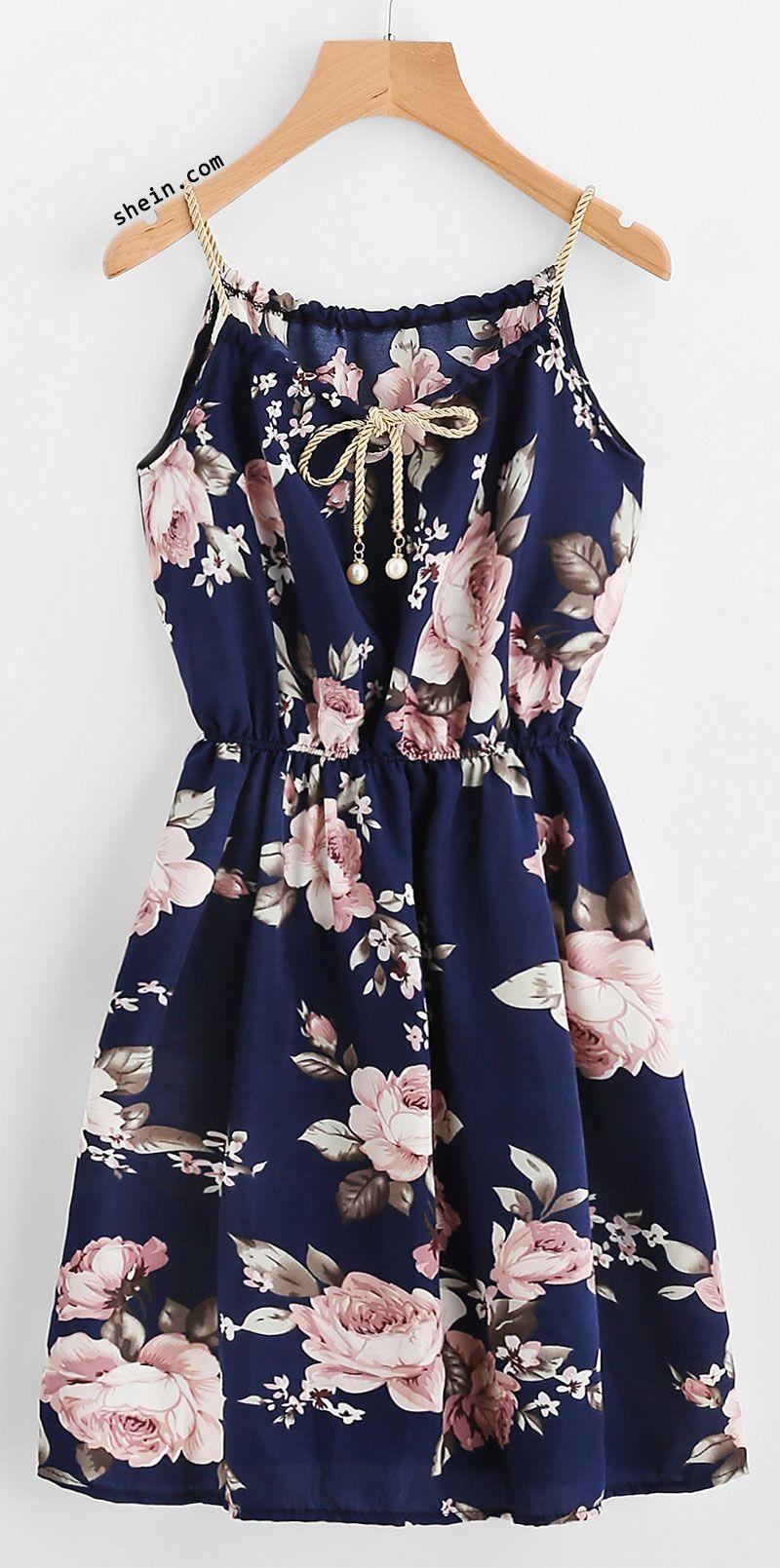 8ccca2b3122d1 Braided Bead Strap Tie Front Flower Print Dress