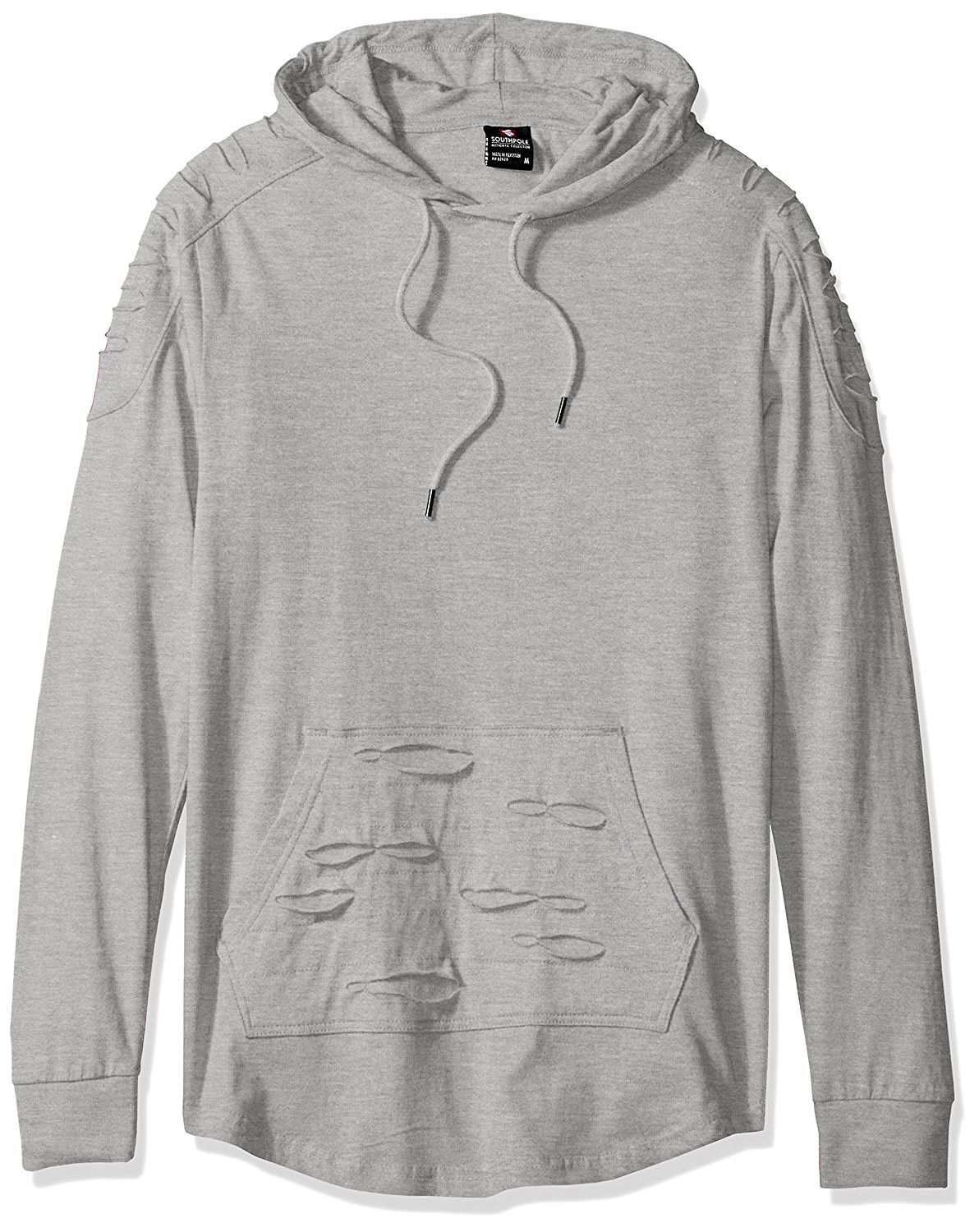 9b34baf9273beb Men's Long Sleeve Hooded Ripped and Repaired Scallop Tee With Kangaroo  Pocket - Heather Grey - CB12M4DNHGL,Men's Clothing, T-Shirts & Tanks, T- Shirts #men ...