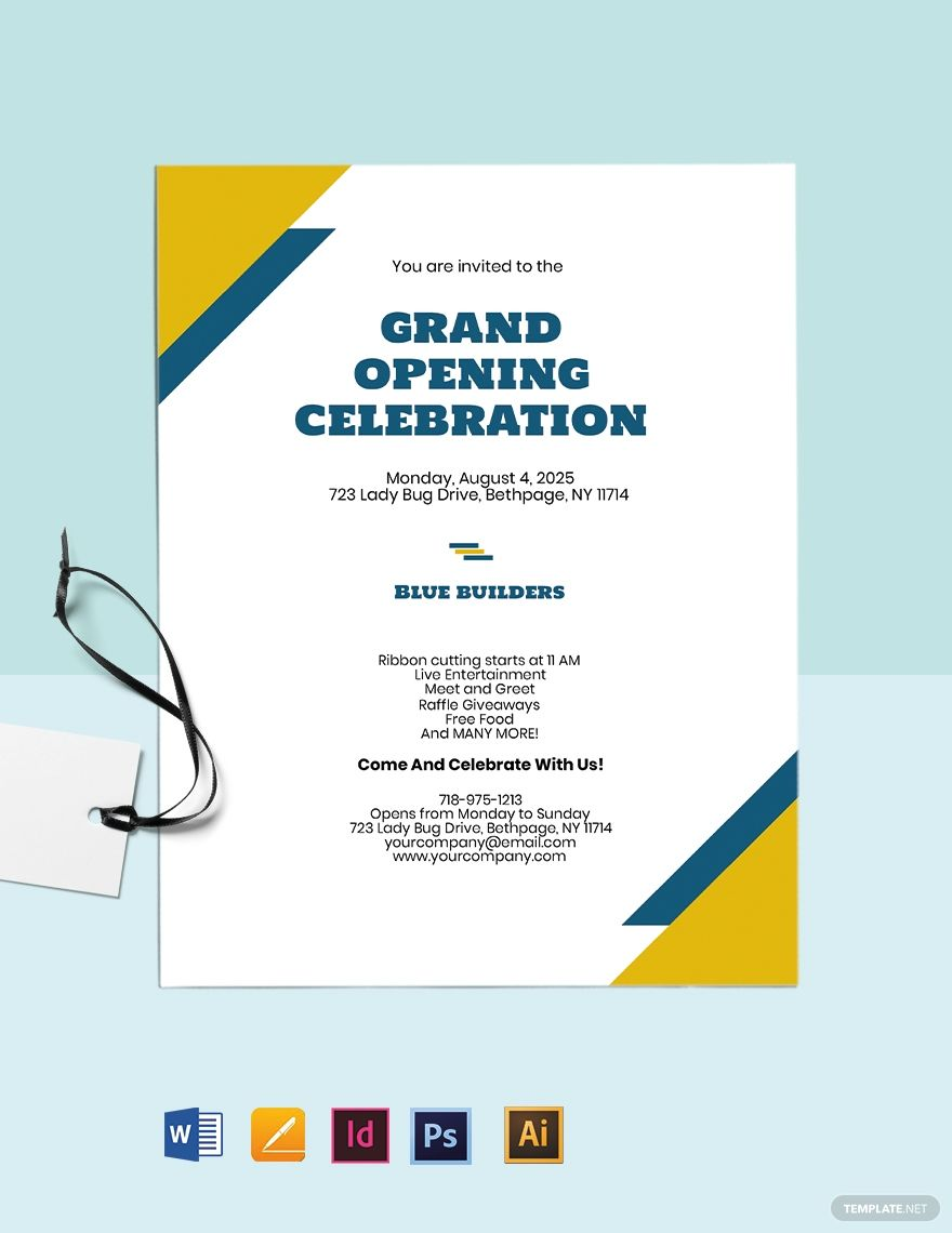 Grand Opening Construction Company Invitation Template Free Pdf Word Psd Indesign Apple Pages Illustrator Invitation Template Grand Opening Invitations Graduation Invitation Wording