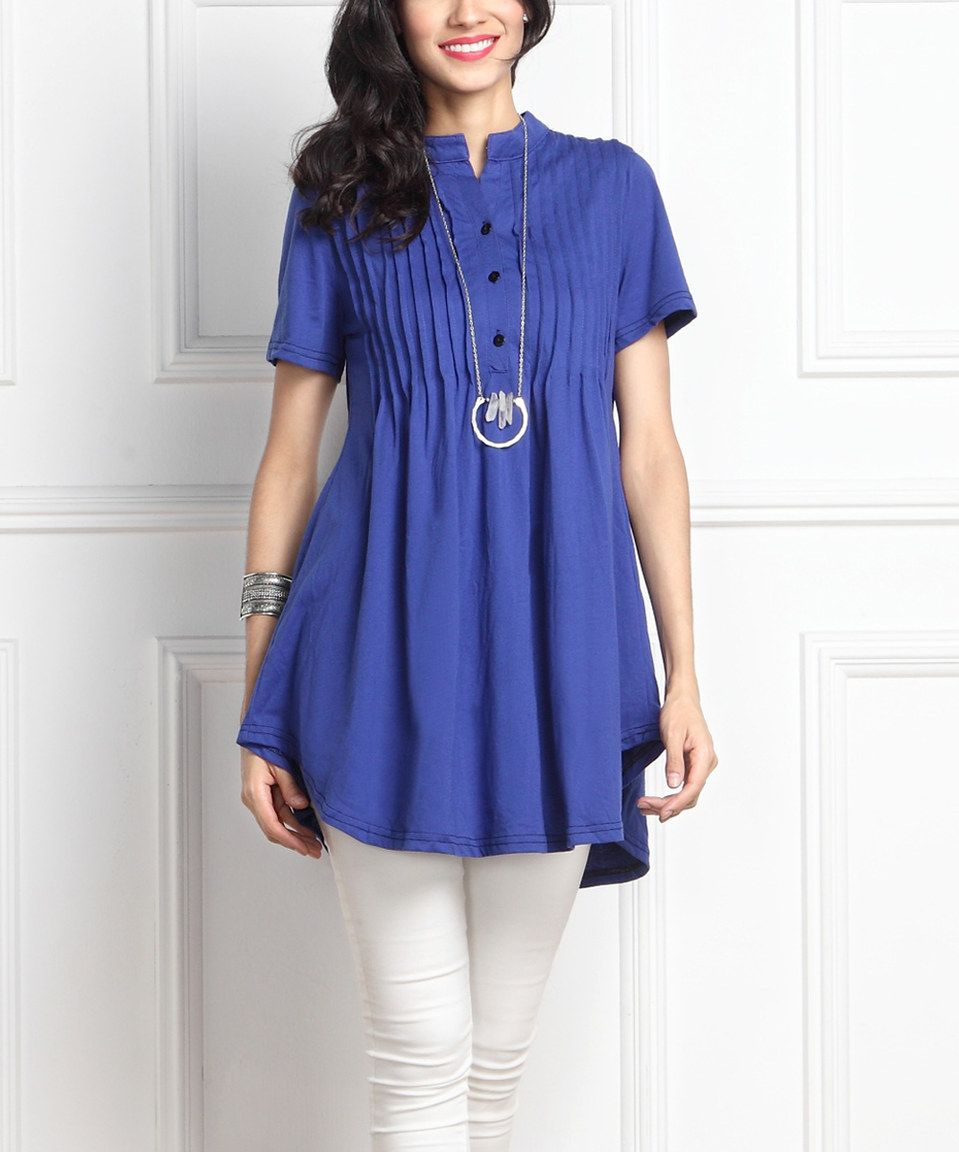Blue Notch Neck Pin Tuck Cap-Sleeve Tunic by Reborn Collection #zulily #zulilyfinds