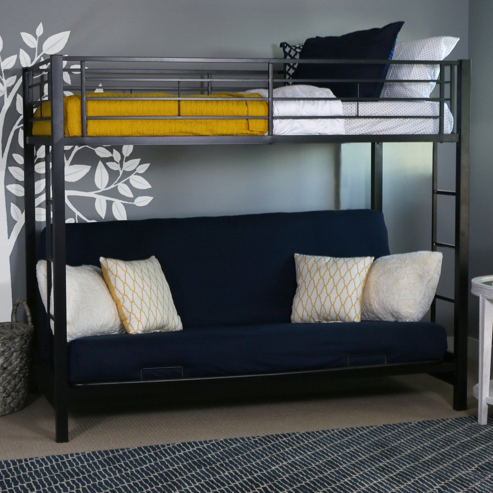 sunrise twin over futon bunk bed black btofbl products