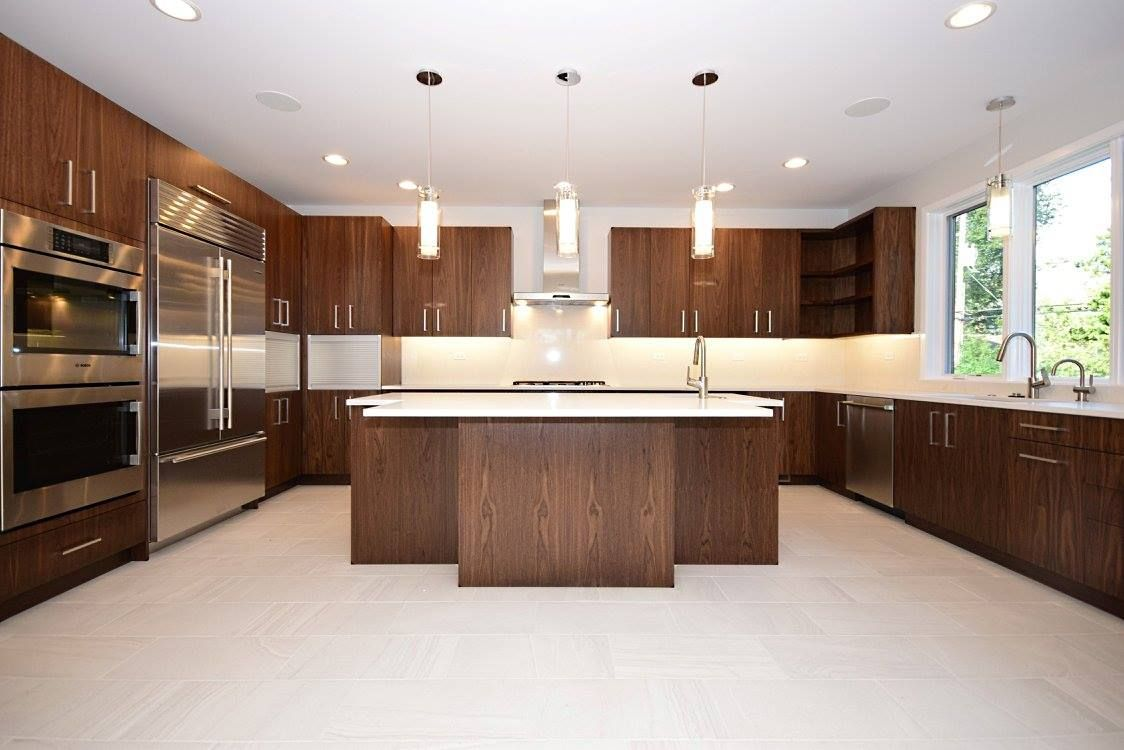Classic Modern Kitchen With Walnut Cabinet White Quartz White Tile Floor Walnut Kitchen Cabinets Walnut Kitchen Cost Of Kitchen Cabinets