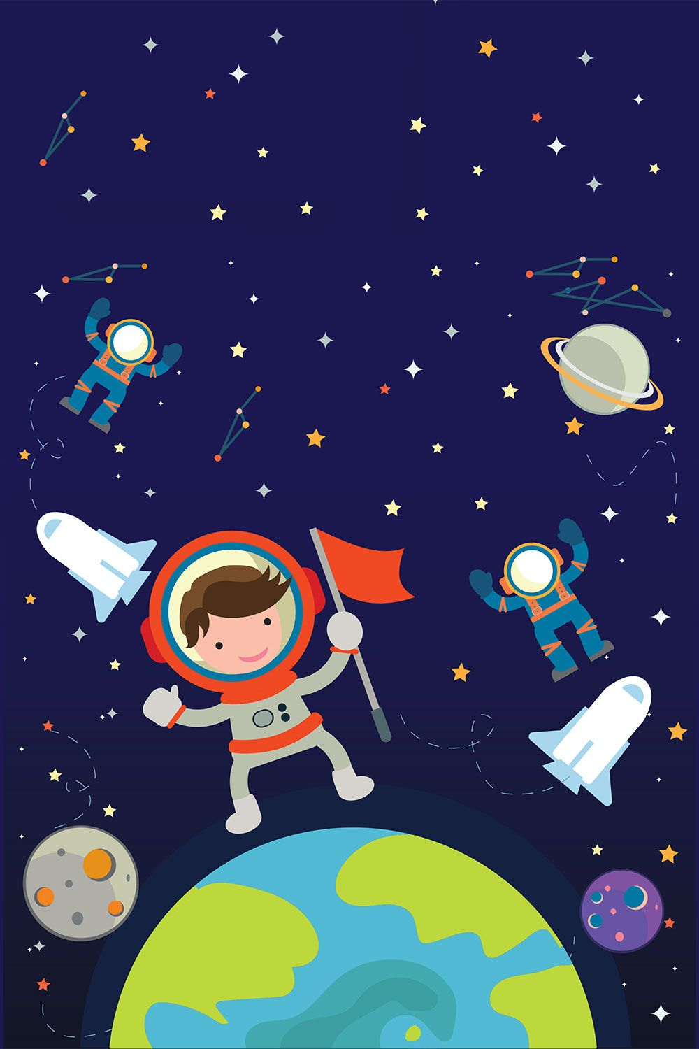 Order kids space wallpaper to create fantastic wall decor for Outer space design wallpaper