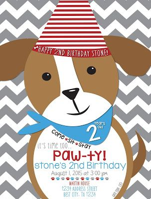 Stones 2nd Birthday Puppy Dog Invitation