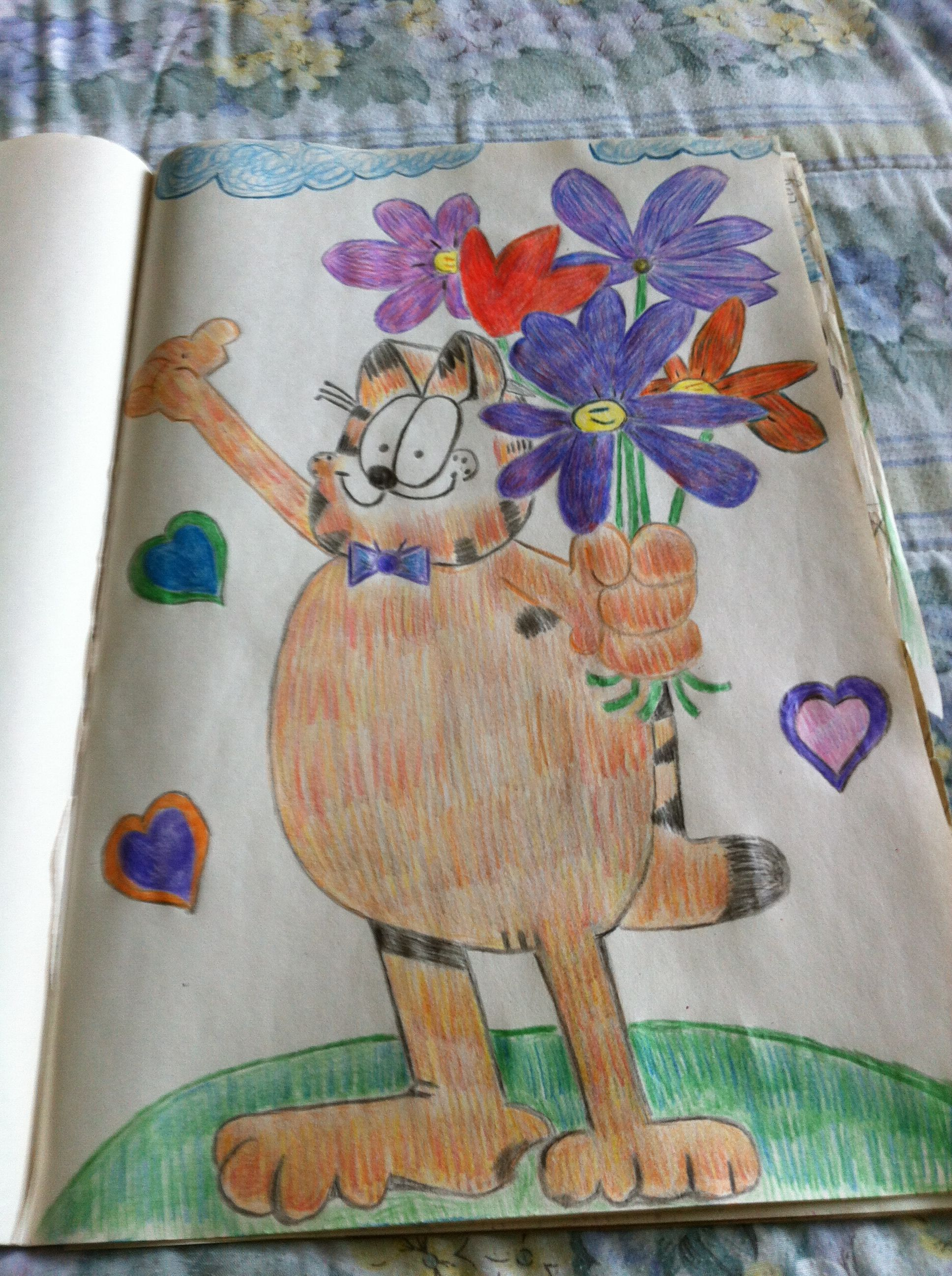 Garfield With Flowers Colored Pencil Drawing By Creative Artistry by Christina V Saunders