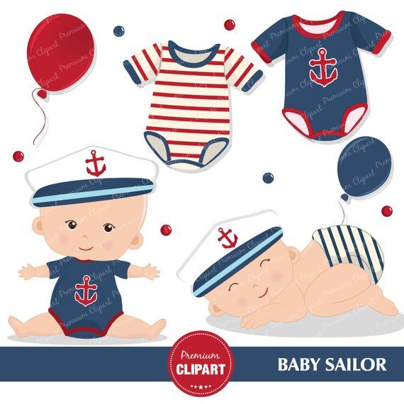 482f43bd6f390 Nautical baby shower clipart, Baby sailor, Sailing clipart, Nautical  graphics, Baby boy clipart - CA