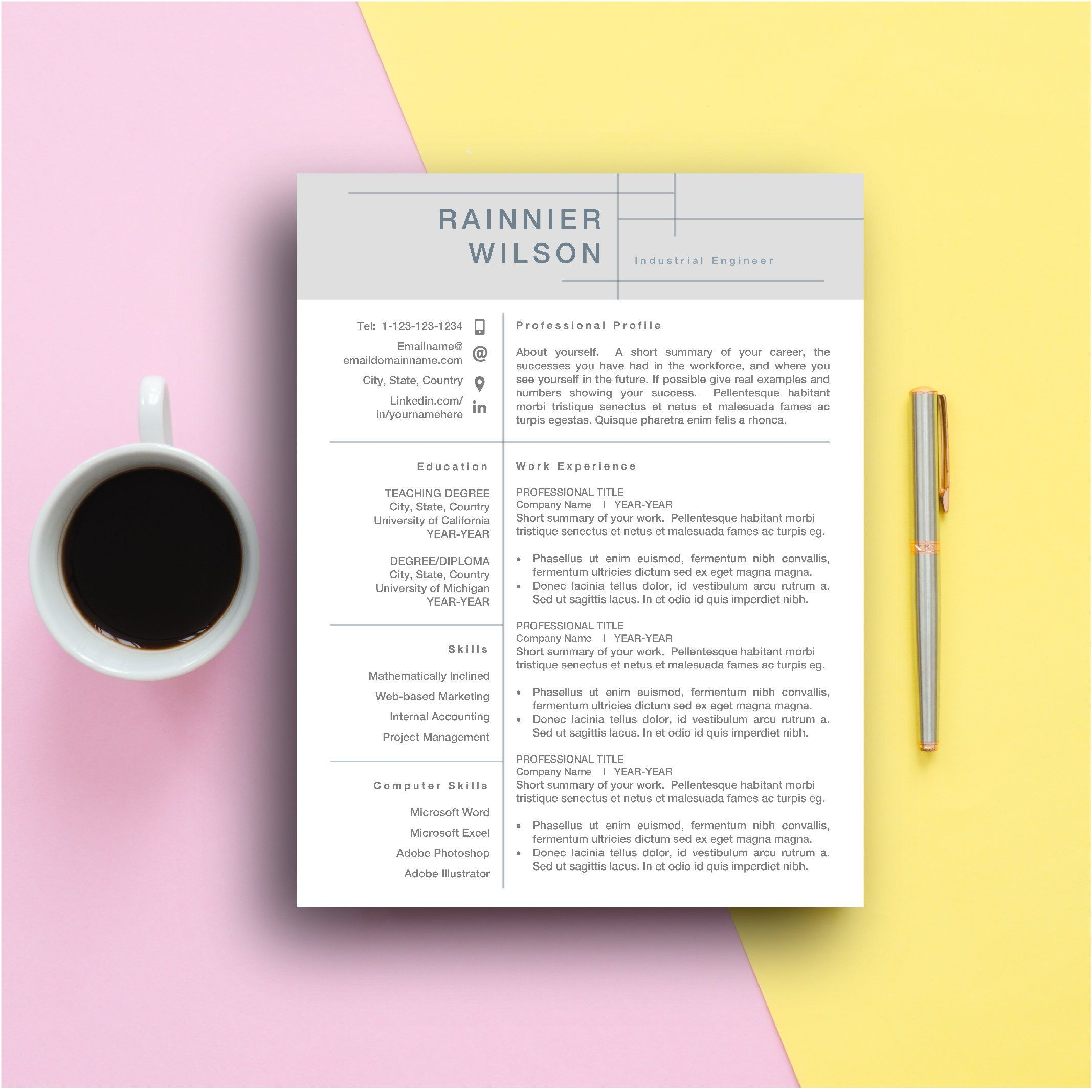 Format Letter Of Reference Amazing Modern Resume Template Design Cv For Mac Pc Editable Ms Word Instant .