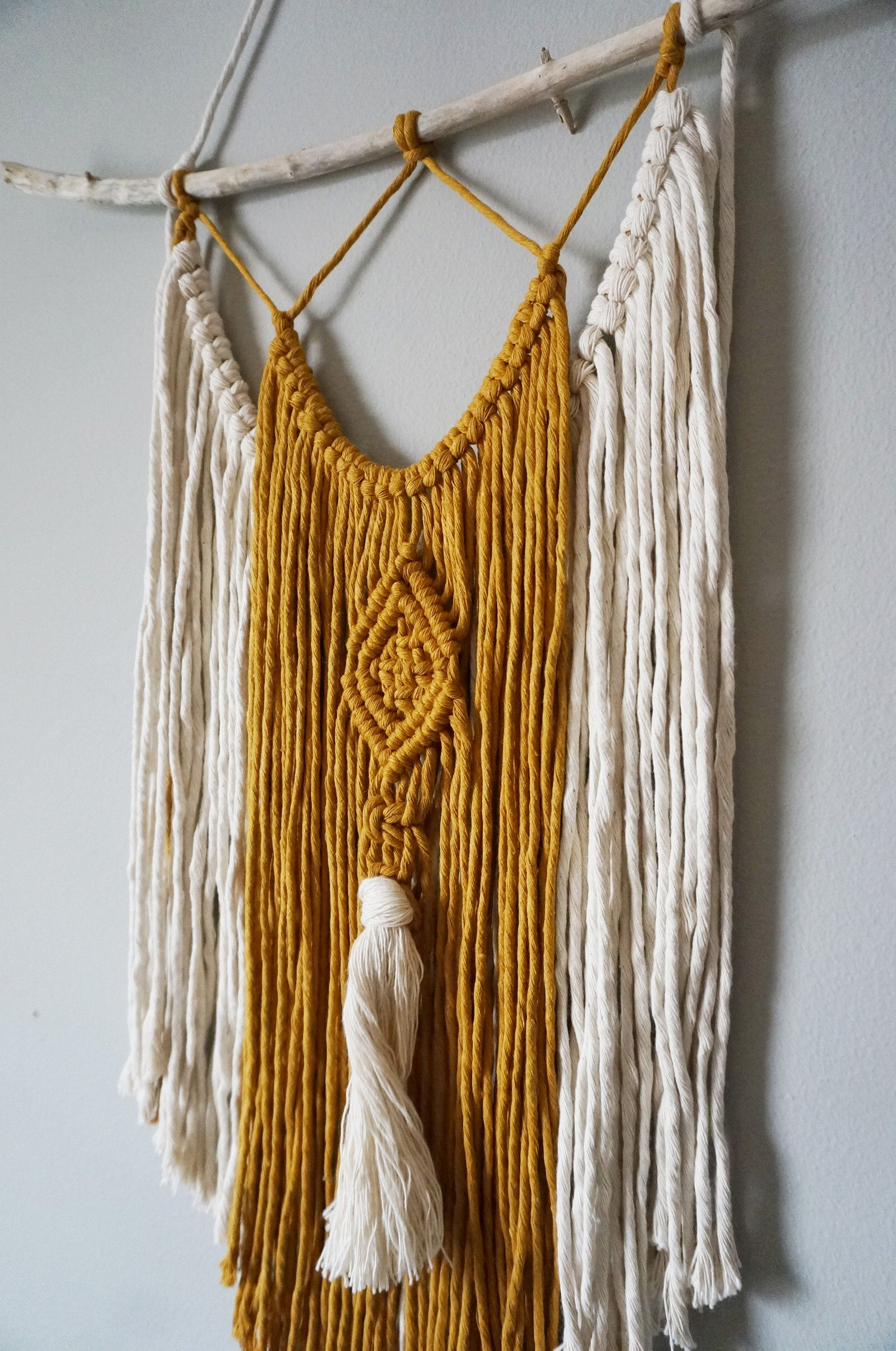 Two Tone Macrame Wall Hanging Ivory And Mustard Knot And Vine Handmade Decor Macrame Wall Hanging Macrame Wall Art Macrame Design