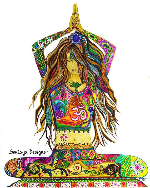 Yoga Pose Painting, Gallery wrapped Canvas Print, Bohemian ...