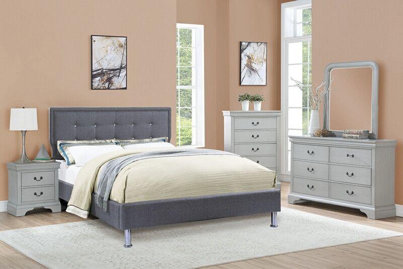 Poundex F9395q 5 Pc Quincy Blue Grey Poly Fiber Fabric Grey Finish Wood Queen Bedroom Set Bedroom Sets Bedroom Sets Queen Wood Bedroom Furniture Sets