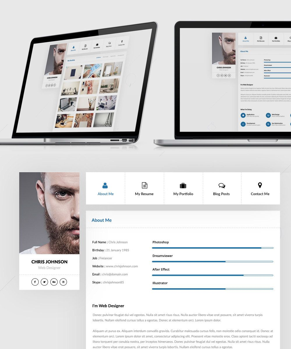Nice Resume And Portfolio Website Templates Free Psd Download