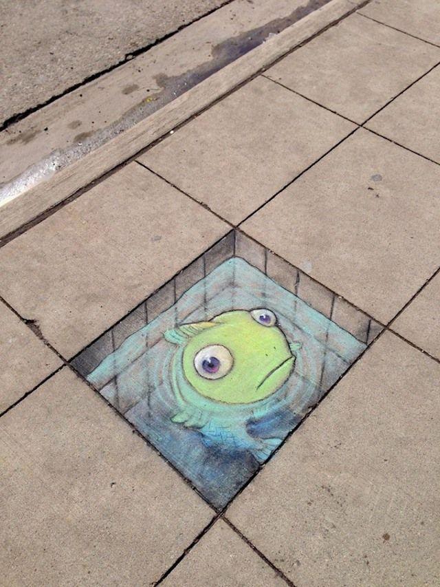 Street art, chalk drawing by David Zinn in Michigan.