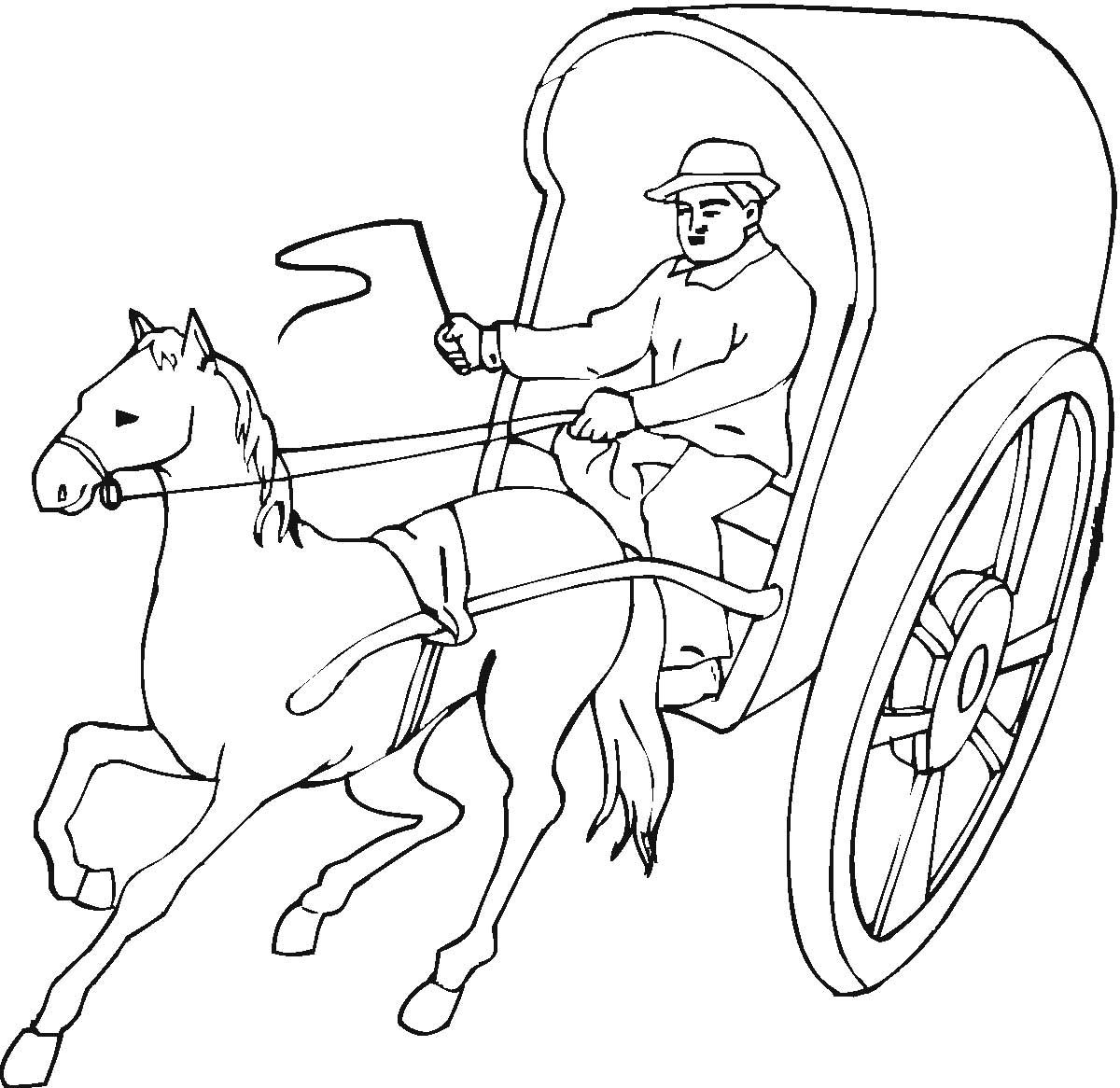 Horse Pulling A Cart Coloring Page Horse Coloring Pages Horse Coloring Animal Coloring Pages
