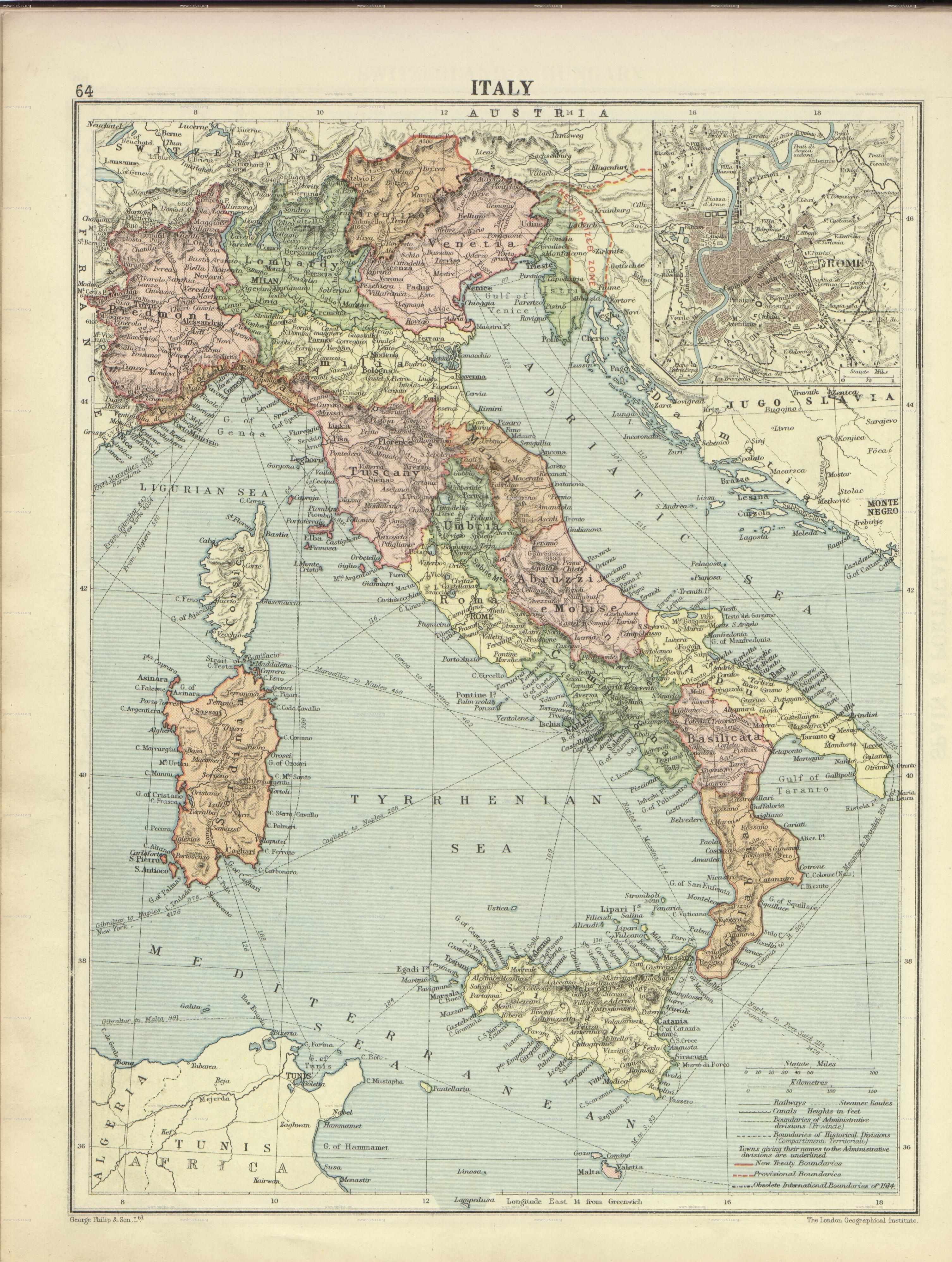 Historic Maps Of Italy Italy London Geographical Institute - 1920 map of us