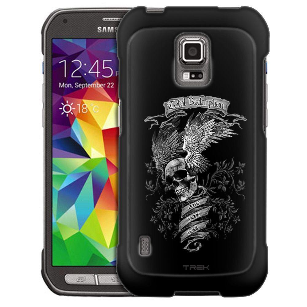 Samsung Galaxy S5 Active Skull Wing on Black Slim Case