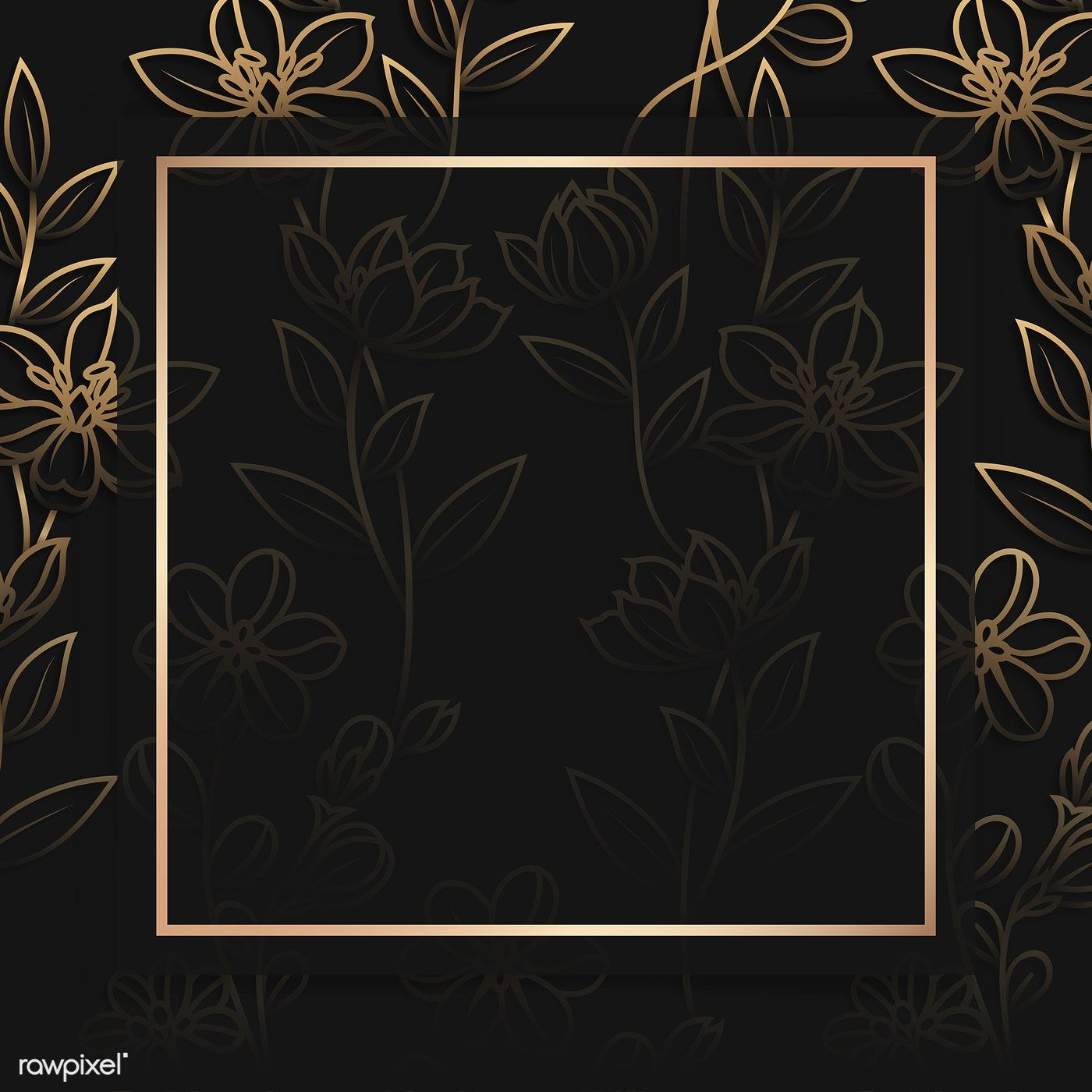 Download Premium Vector Of Square Gold Frame On Floral Pattern