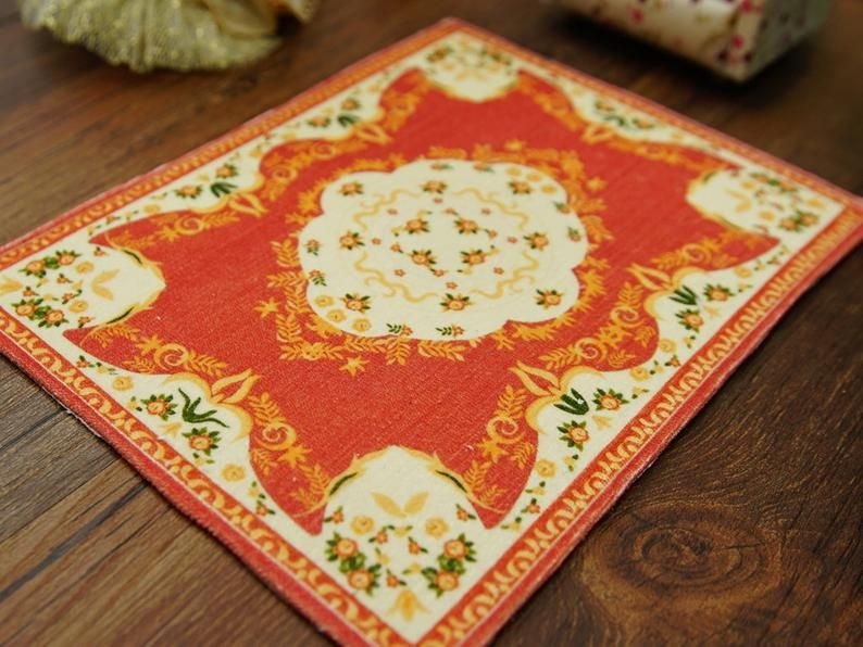 French Aubussn Design Olive Green Beige Dollhouse Miniature Area Rug 1:12