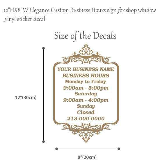 12HX8W Elegance Custom Business Hours Sign For By Designsocket