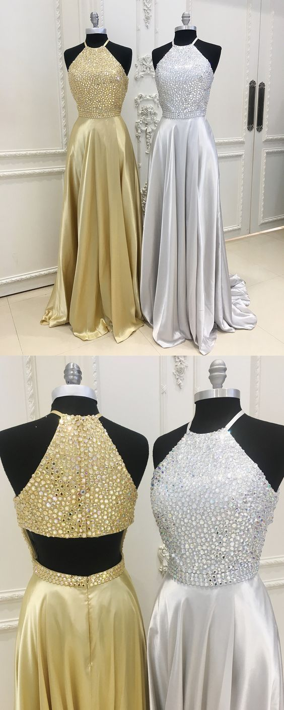 Sexy slit gold prom dressslit silver graduation dresshalter