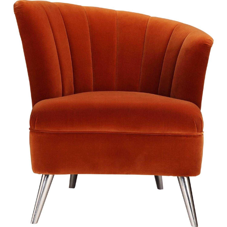 Moe S Layan Accent Chair Right Orange Velvet Metal Legs Accent