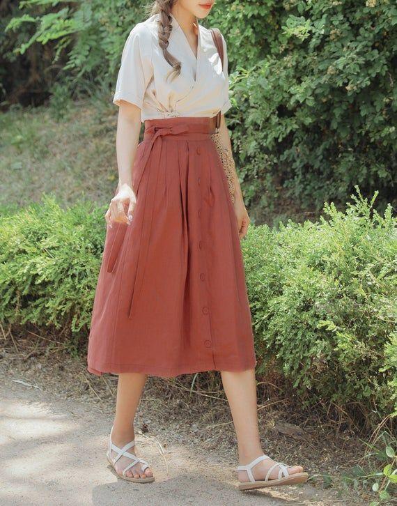 Photo of TETEROT SALON Women's Wrap Skirt Hanbok Korean Vintage Party Corduroy Deep Khaki Midi Long Skirts 코듀로이 진수박