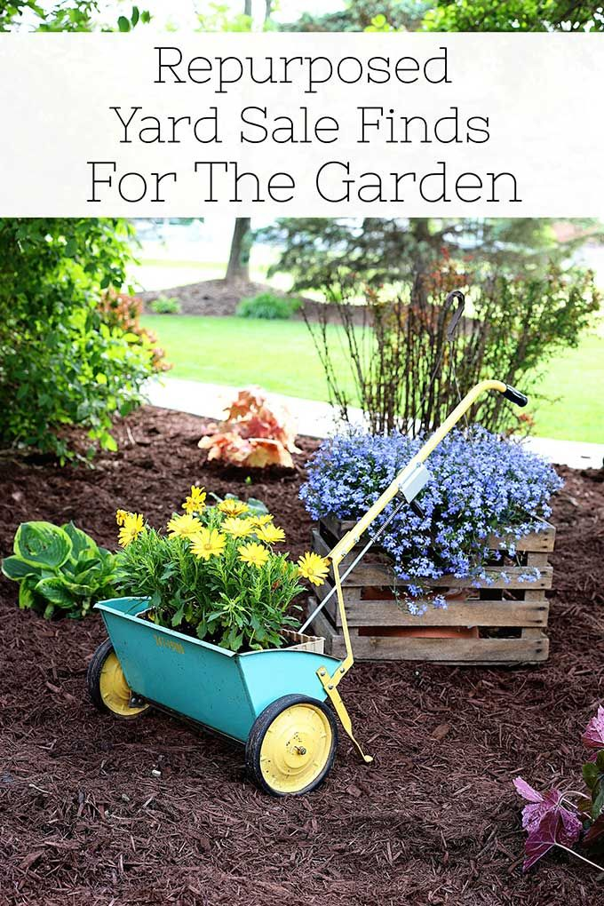 Repurposed Yard Sale Finds For The Garden is part of Unique garden art, Diy garden projects, Unique gardens, Yard sale finds, Garden art, Garden art projects - Repurposing yard sale finds is an easy and inexpensive way to create interesting planters and unique garden art for your garden