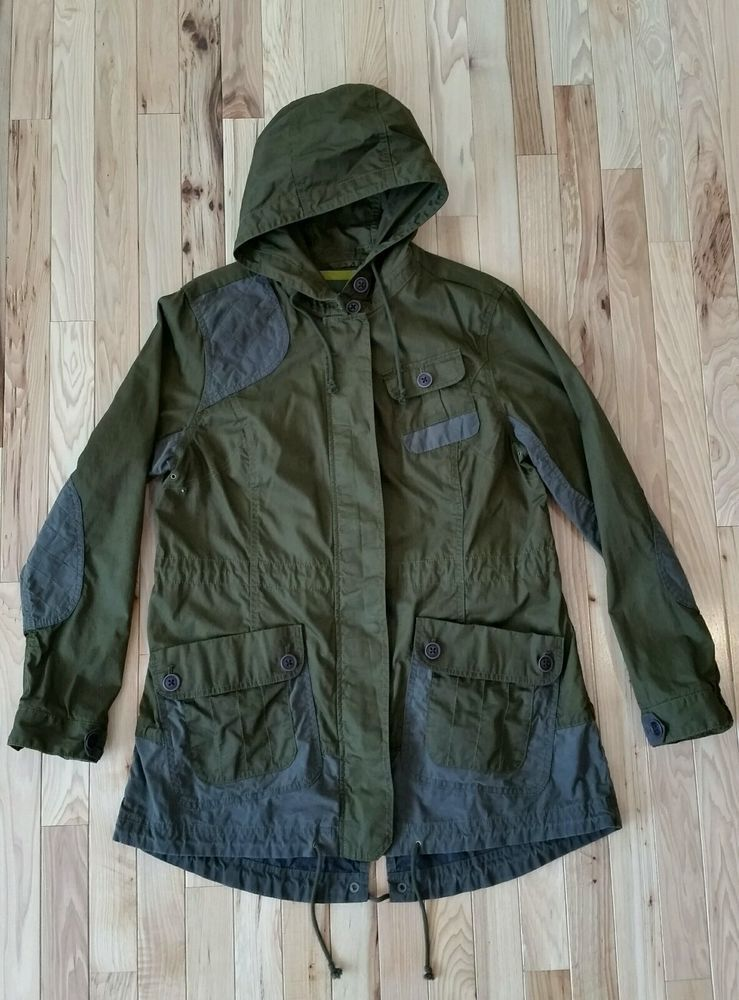 a1bfef45acf46 Eddie Bauer Green Hooded Cotton Military Jean Parka Jacket Women's Large # EddieBauer #Parka
