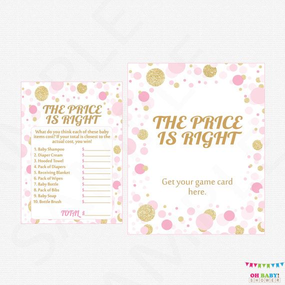 Pink And Gold Baby Shower Games The Price Is Right By Ohbabyshower