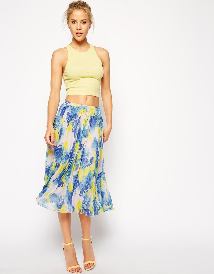 ASOS Pleated Midi Skirt In Floral Print | Fashion! Turn to the ...