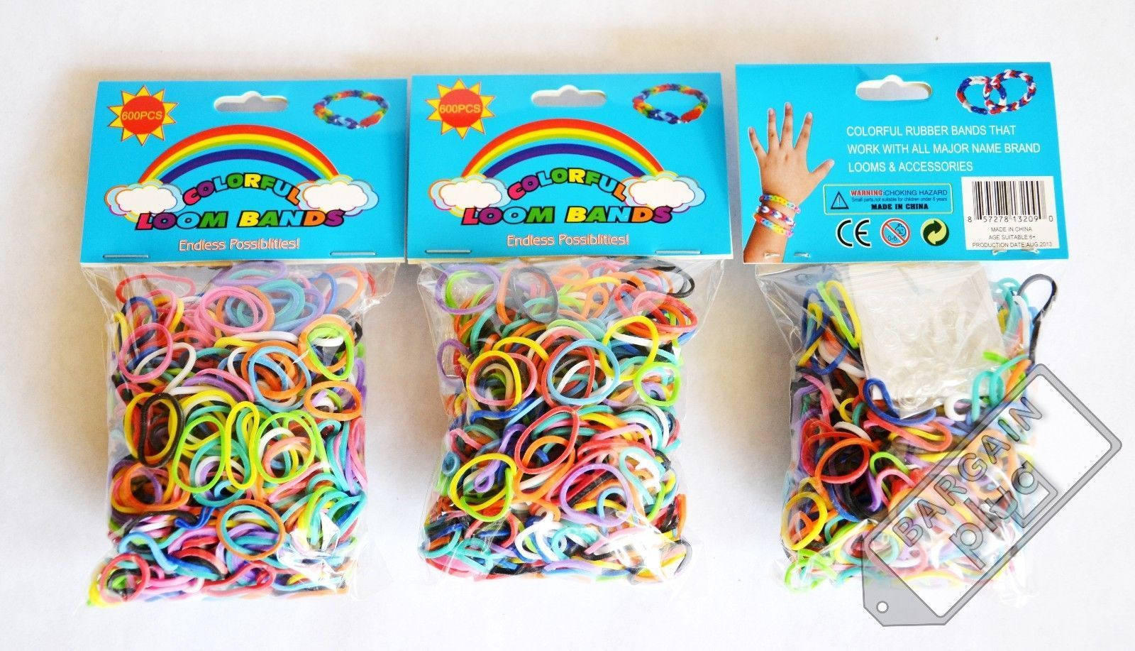Loom Bands Refill 3 Pack X 600 Rainbow Rubber Bands 1800 Pieces + 90 ...