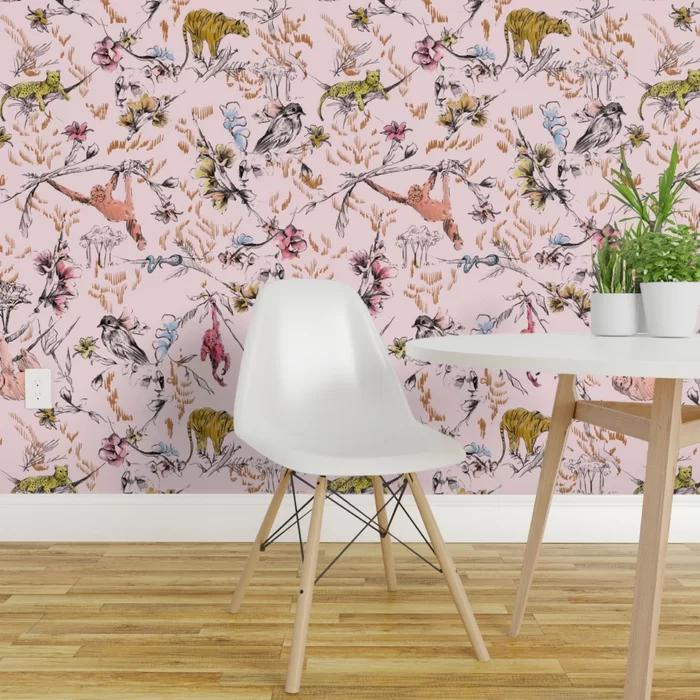 Spoonflower Sample Peel And Stick Wallpaper Panel Wayfair Wallpaper Panels Pink Jungle Wallpaper Peel And Stick Wallpaper