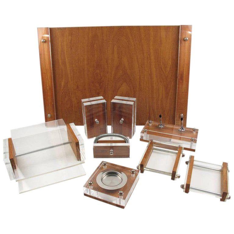 Ritts Co La Mid Century Modern Lucite And Oak Astrolite Desk Set