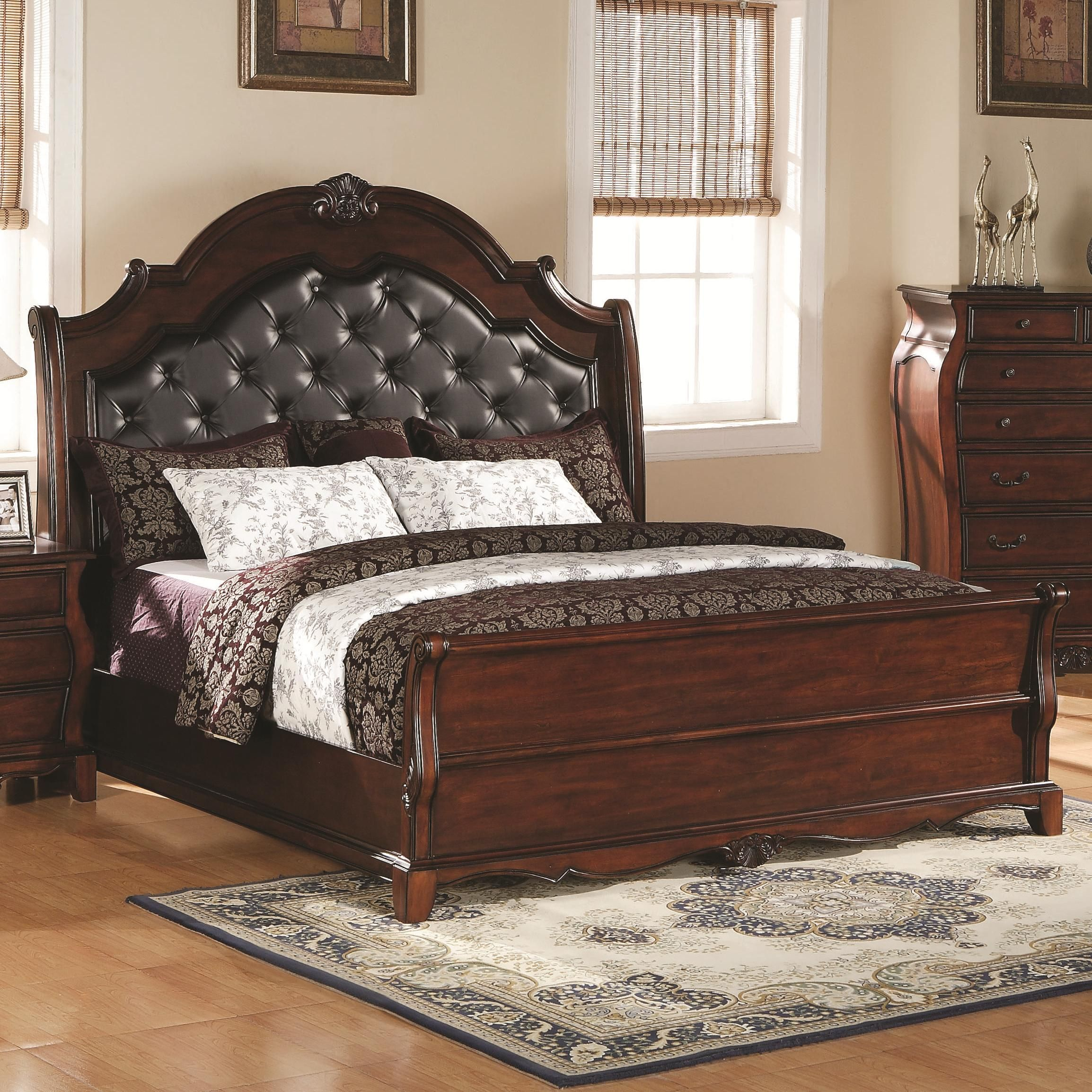 bed products platform elements international raven headboard item number kcr b faux king leather