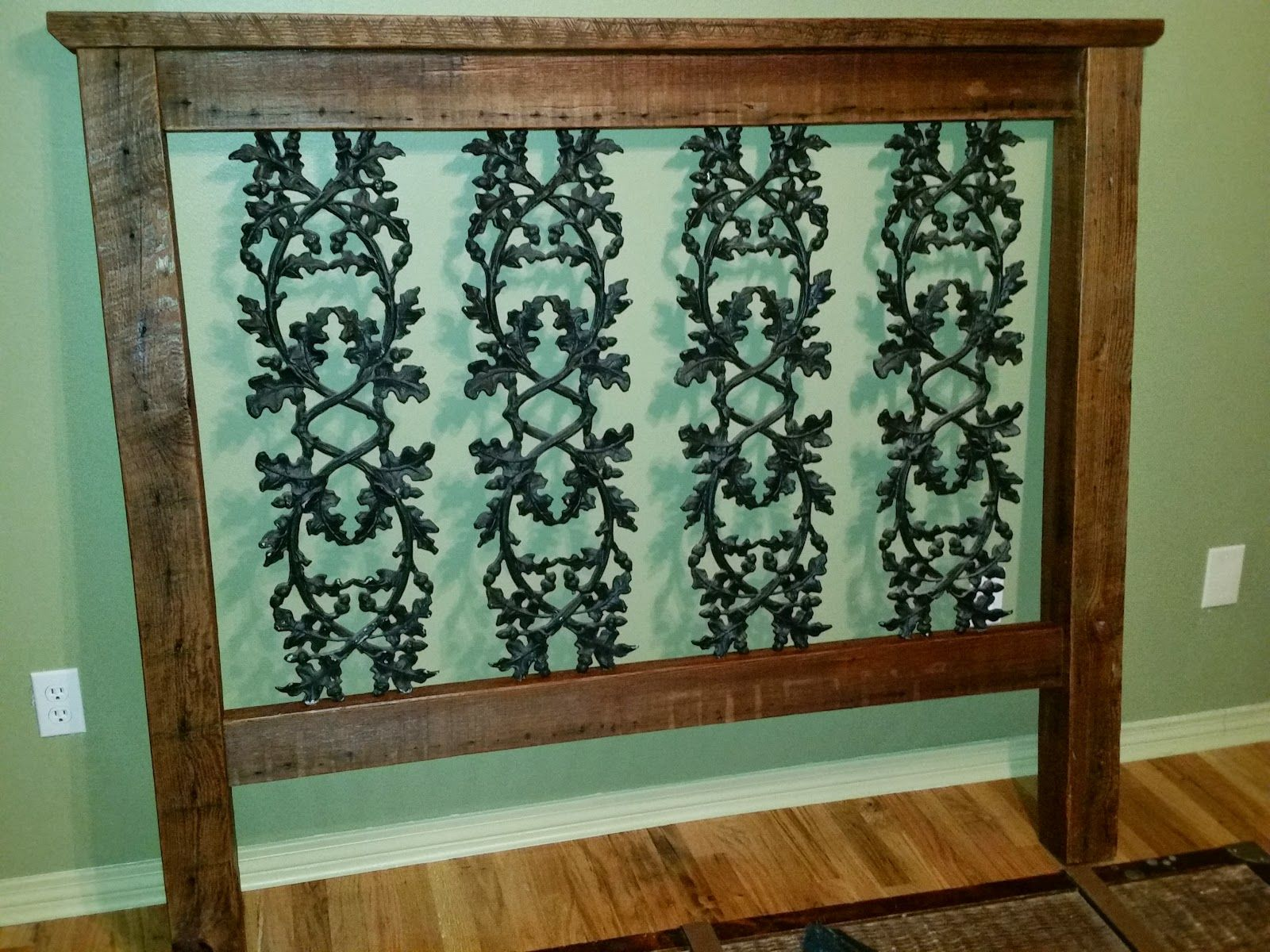 Antique Pine And Wrought Iron Headboard Furniture