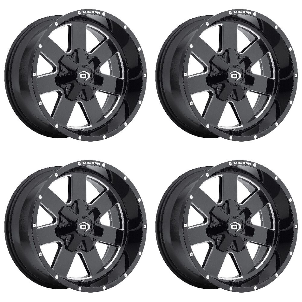 Set 4 17 Vision 411 Arc Black Milled Rims 17x9 6x135 6x5 5 Ford F150 Gmc 6 Lug Truck Rims Jeep Wheels Wheel Rims
