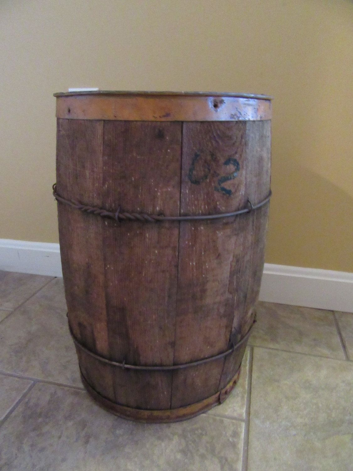 Nice vintage rustic wood nail keg with metal strapping- solid, good ...