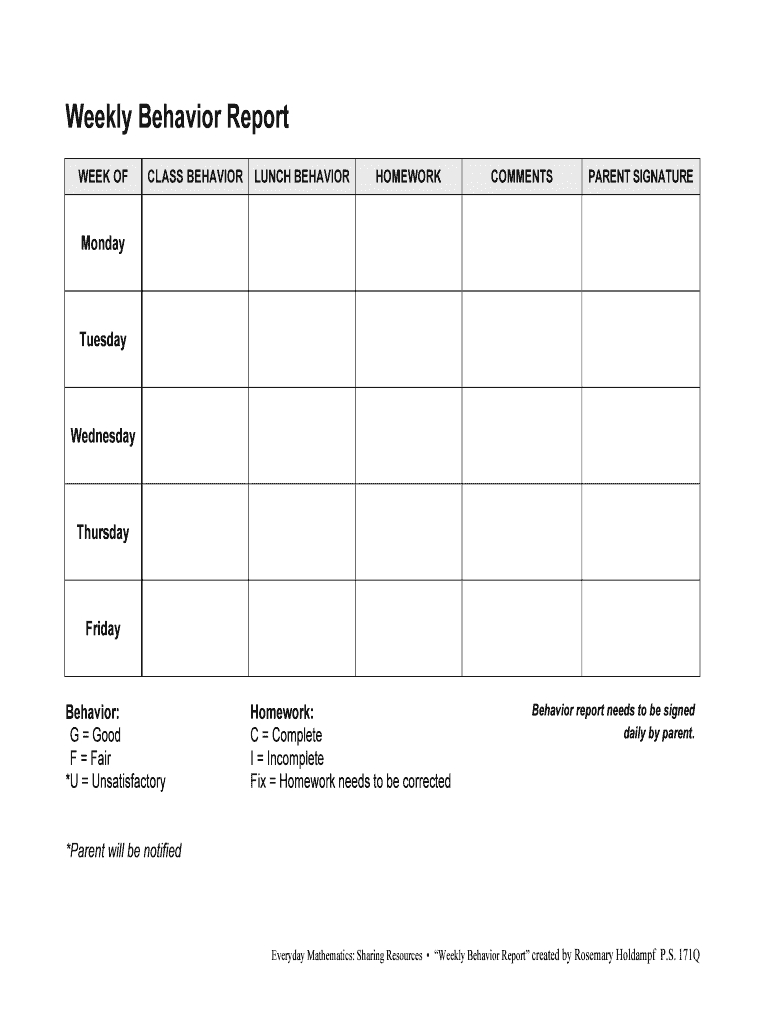 Weekly Behavior Report Fill Online Printable Fillable Blank With Behaviour Report Template 10 P Weekly Behavior Report Daily Behavior Report Behavior Report