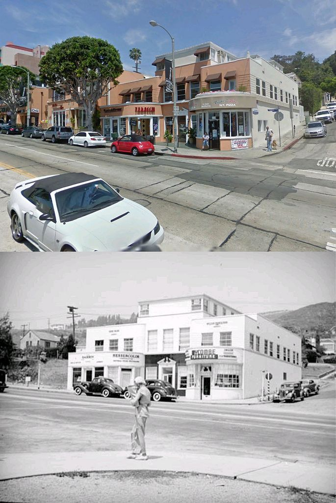 Nw Corner Of Hilldale Avenue And Sunset Boulevard 1936 And Now