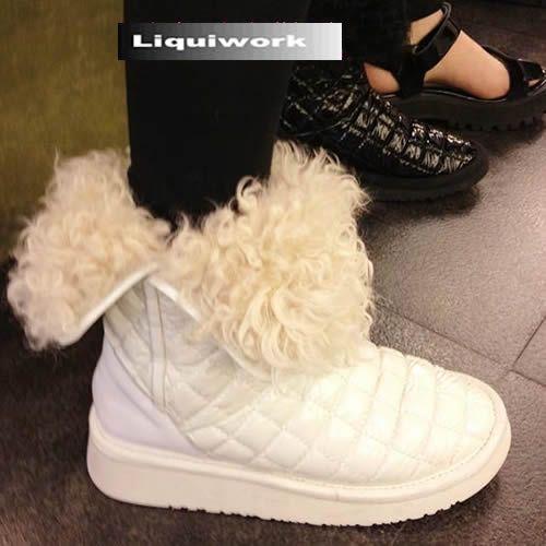 Designer White Black Quilt Leather Fur Winter Fashion Snow Boots Women SKU-143410
