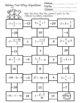 Solving Two Step Equations Maze Systems Of Equations Equations Solving Equations