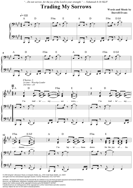 trading my sorrows sheet music onlinesheetmusic trading my sorrows ...
