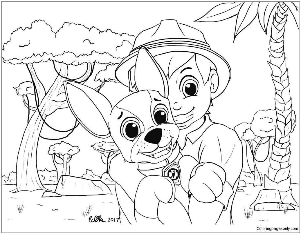Carlos and tracker from paw patrol coloring page