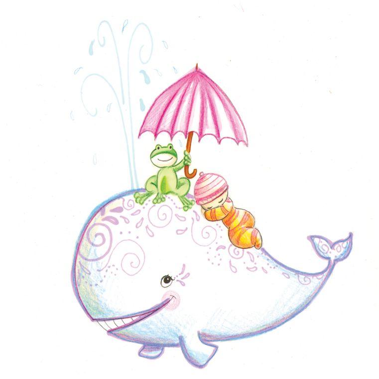 faire part de naissance illustration grenouille et baleine illustrations laure phelipon. Black Bedroom Furniture Sets. Home Design Ideas