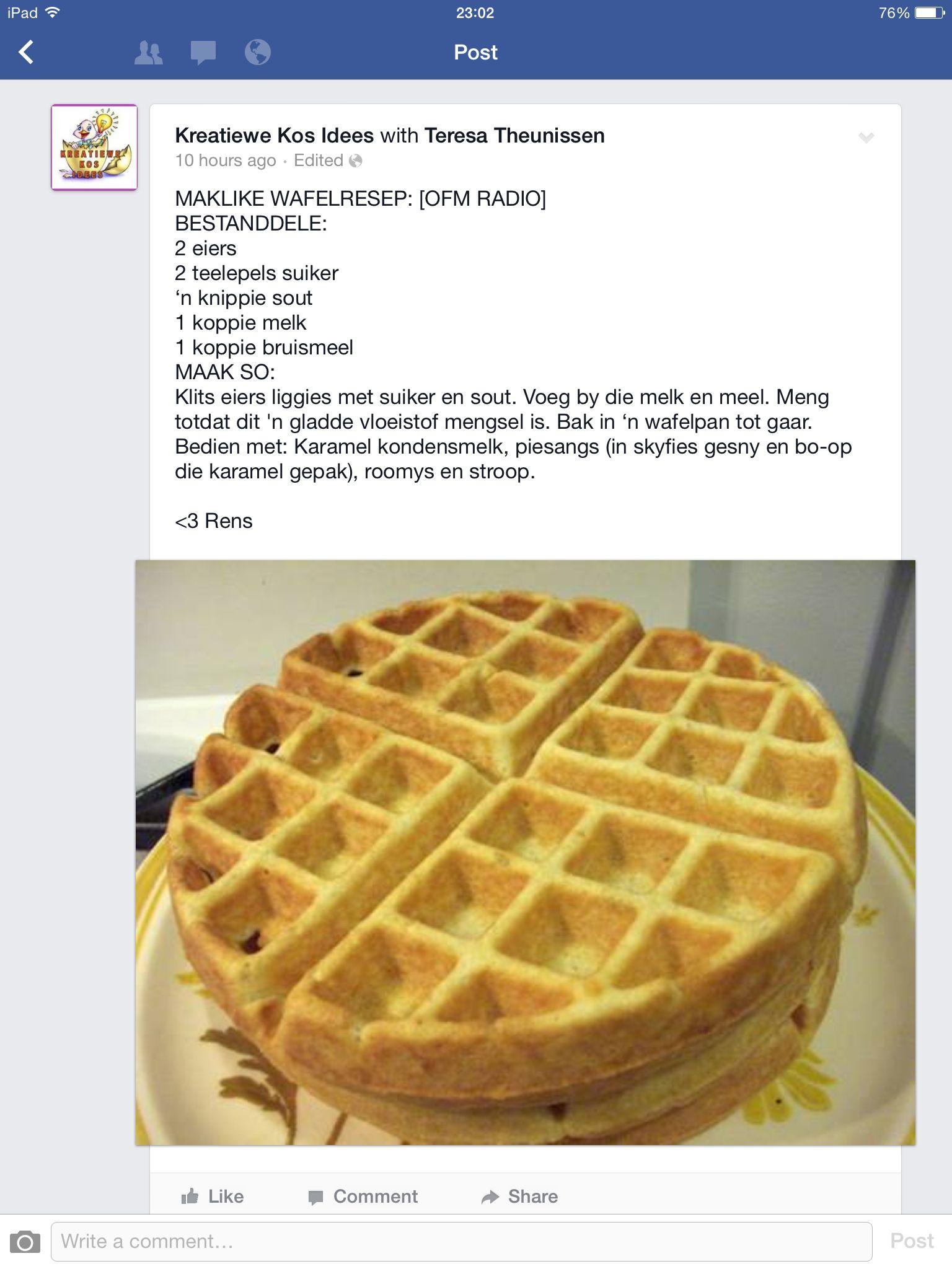 Maklike Wafel Resep Yummy Desserts Baking Dessert Recipes Waffle Recipes
