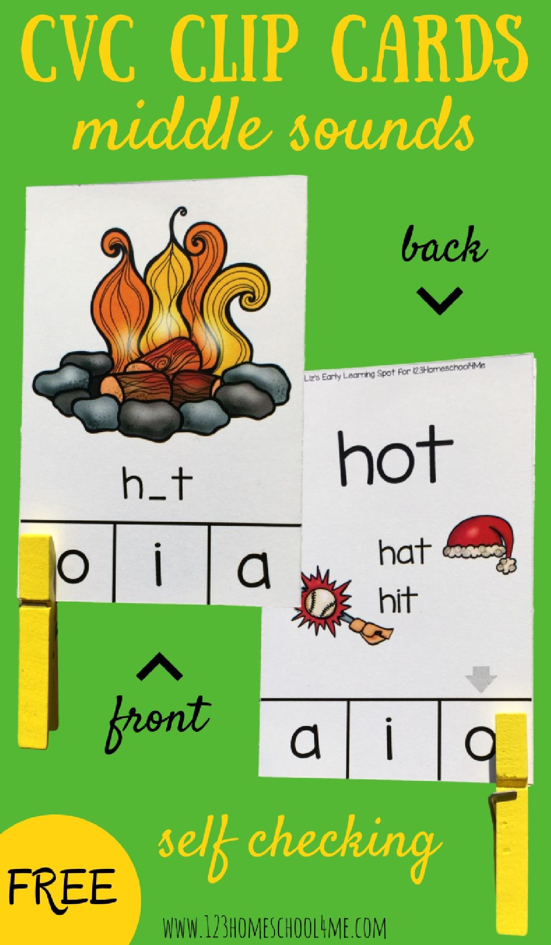 Free Cvc Words Middle Sounds Clip Cards