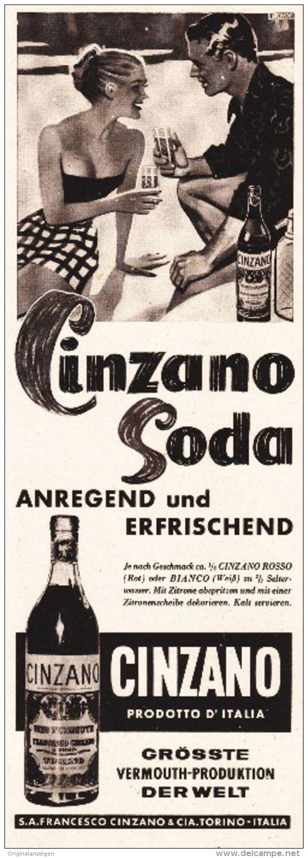 Original Werbung Anzeige 1950 Er Jahre Cinzano Ca 80 X 200